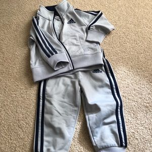 Adidas baby boy gray track suit